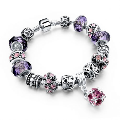 925-Silver-Crystal-Charm-Bracelets-for-Women-With-Purple-Murano-Glass-B Purple