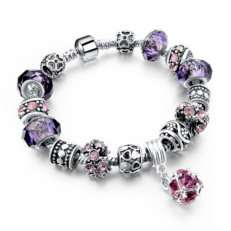 Murano Gl Beads Crystal 925 Silver Charm Bracelets