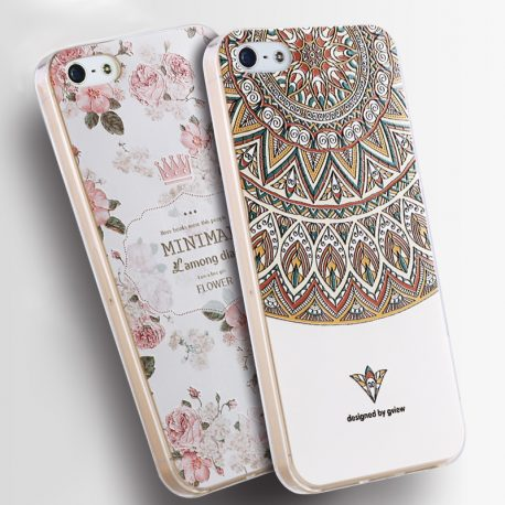 For-iPhone-5S-Case-Luxury-Transparent-Soft-TPU-3D-Relief-Print-Back-Flip-Cover-Phone-Bag-Modified