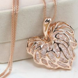 Hollow Gold or Silver Crystal Heart. Long Chain Necklace.